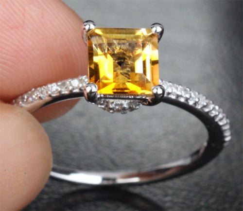 Princess Citrine Engagement Ring Pave Diamond Wedding 14k White Gold 6mm - Lord of Gem Rings - 1