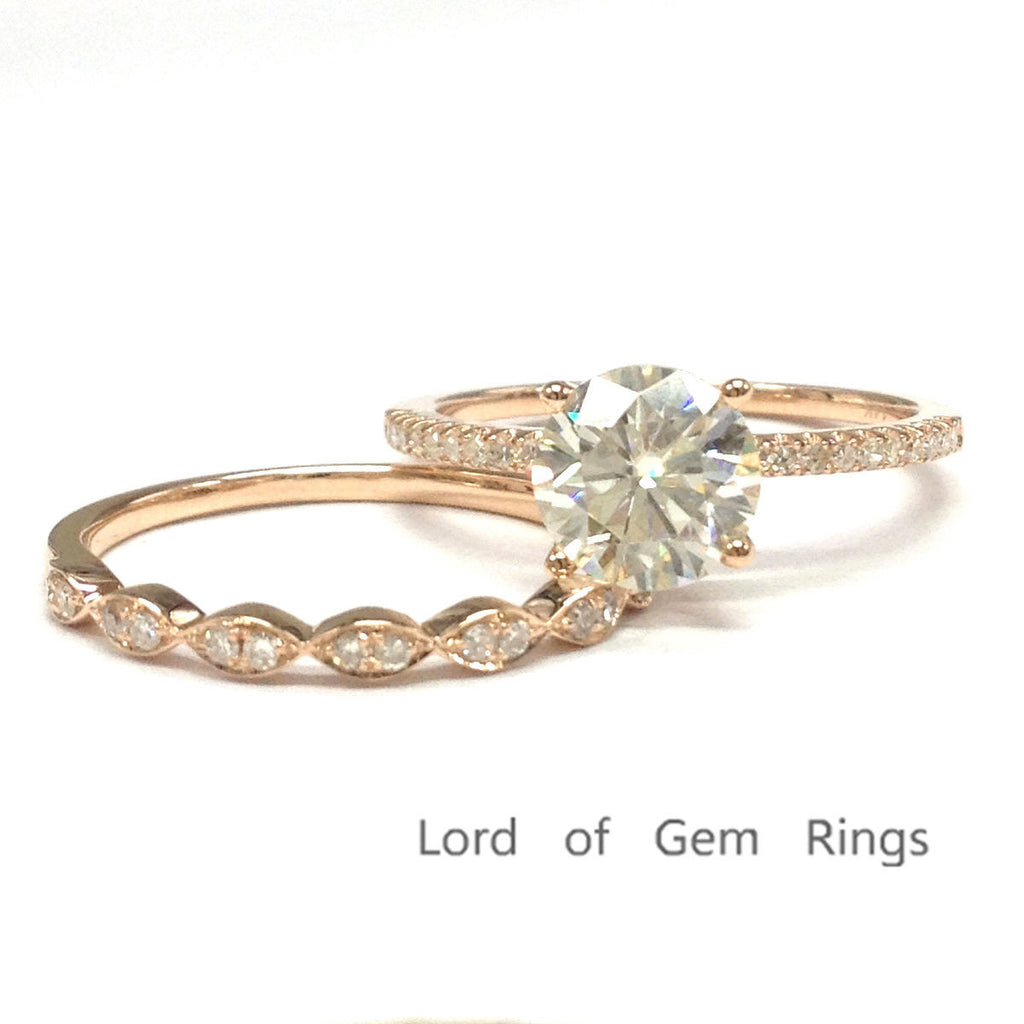 Round Moissanite Engagement Ring Sets Pave Diamond Wedding 14K Rose Gold 6.5mm Art Deco - Lord of Gem Rings - 1