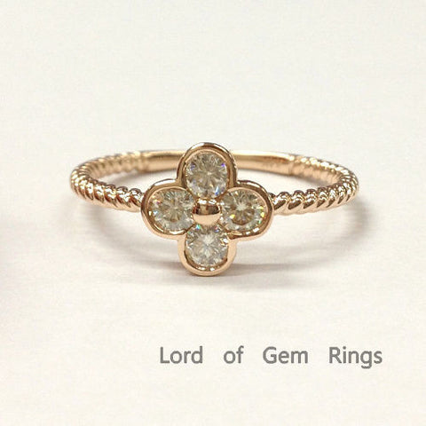 Moissanite Engagement Ring 14K Rose Gold 3mm Round Four Leaved Clover Floral - Lord of Gem Rings - 1