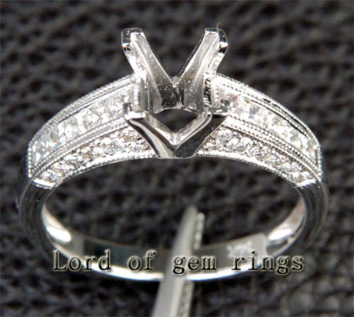 Diamond Engagement Semi Mount Ring 14k White Gold Setting Princess 5mm - Lord of Gem Rings - 1