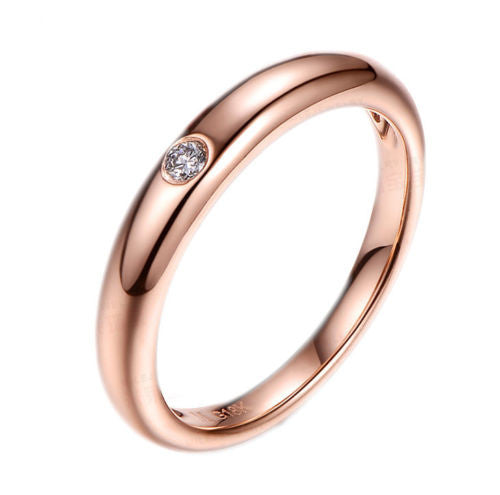 Bezel Set Diamond Wedding Band Anniversary Solitaire Ring in 18K Rose Gold-VS H Diamonds - Lord of Gem Rings - 1