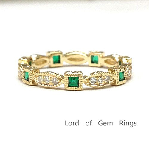 Reserved for lovemyroses2-4 Princess Emerald Diamond  Wedding Band Eternity Anniversary Ring 14K Yellow Gold - Lord of Gem Rings - 1