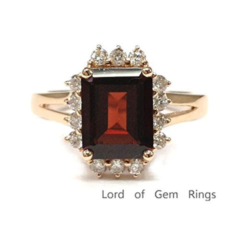 Emerald Cut Garnet Engagement Ring Pave Diamond Wedding 14K Rose Gold,7x9mm - Lord of Gem Rings - 1