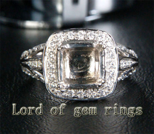 Diamond Engagement Semi Mount Ring 14K White Gold Setting Cushion 7.5mm - Lord of Gem Rings - 1