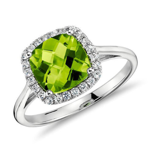 Cushion Peridot Engagement Ring Pave Diamond Halo 14K White Gold 8mm - Lord of Gem Rings - 1