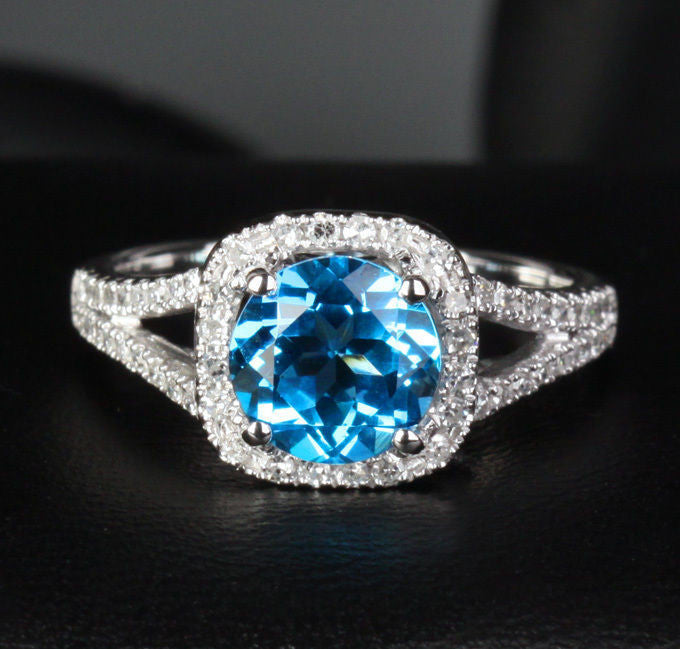 Round Blue Topaz Engagement Pave Diamond Wedding Ring 14K White Gold 7.5mm