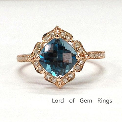 Cushion London Blue Topaz Engagement Ring Pave Diamond Wedding 14K Rose Gold,8mm,Floral Style - Lord of Gem Rings - 1