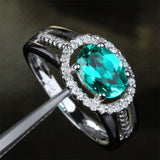 Oval Emerald Engagement Ring Pave Diamond Wedding 14k White Gold 6x8mm - Lord of Gem Rings - 1
