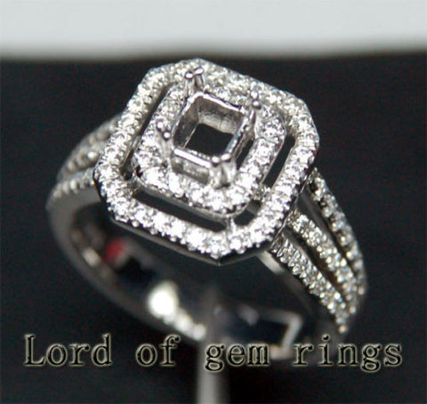 Diamond Engagement Semi Mount Ring 14K White Gold Emerald Cut 5x5mm - Lord of Gem Rings - 1