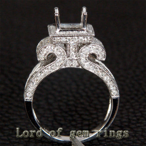 Diamond Engagement Semi Mount Ring 14K White Gold Setting Princess 5.5-6.5mm Milgrain - Lord of Gem Rings - 1