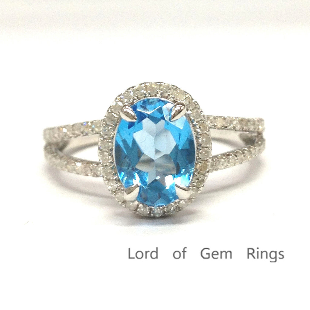 Oval Sky Blue Topaz Engagement Ring Pave Diamond Wedding 14K White Gold 6x8mm - Lord of Gem Rings - 1