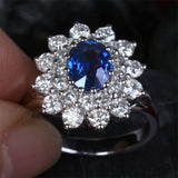 Oval Sapphire Engagement Ring VS Diamond Wedding 18k White Gold 3.62ct Flower - Lord of Gem Rings - 1