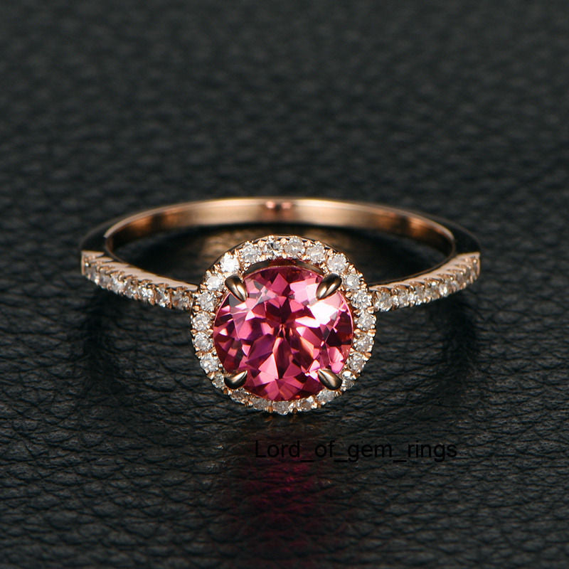 Round Pink Tourmaline Engagement Ring Pave Diamond Wedding 14K Rose Gold 7mm - Lord of Gem Rings - 1