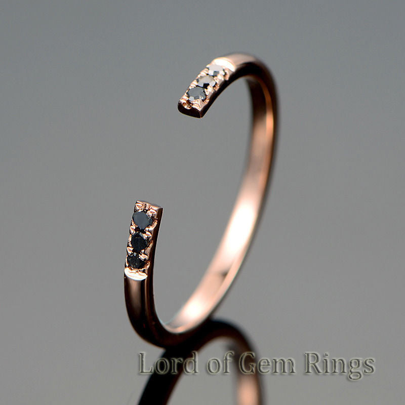 Black Diamond Wedding Band Unique Eternity  Anniversary Ring 14K Rose Gold - Lord of Gem Rings - 1