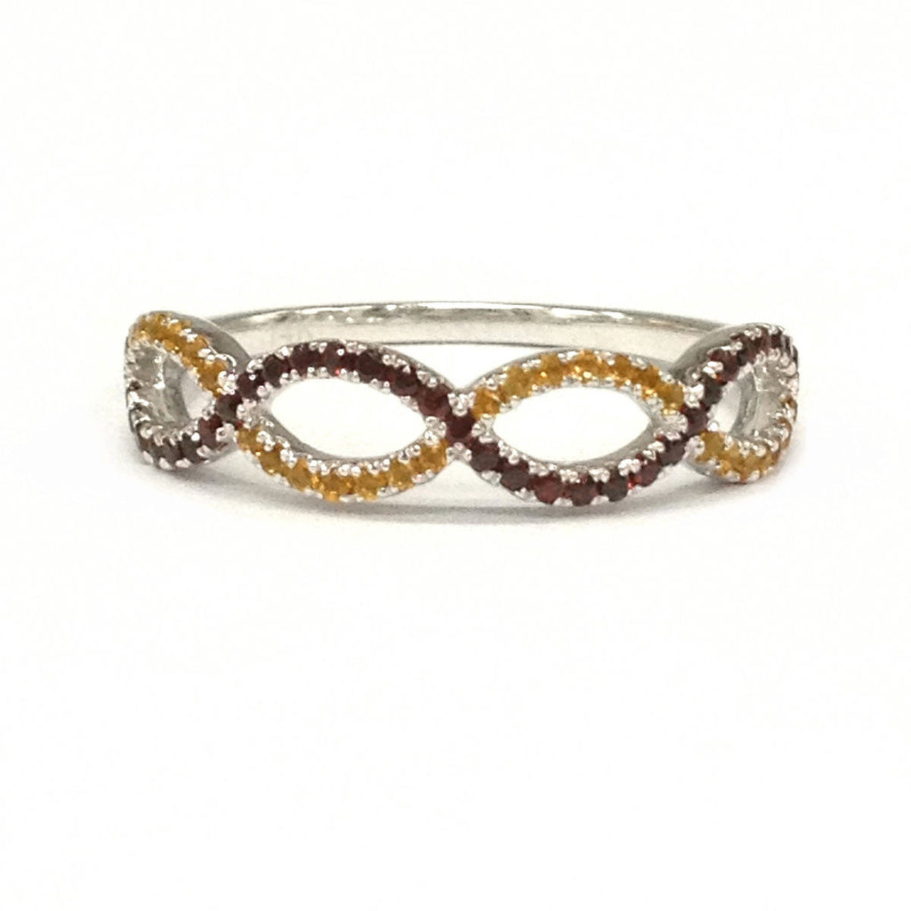 Red Garnet & Yellow Citrine Wedding Band Half Eternity Anniversary Ring 14K White Gold Curved - Lord of Gem Rings - 2