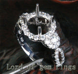 Diamond Engagement Semi Mount Ring 14K White Gold Setting Round 8mm Halo - Lord of Gem Rings - 1