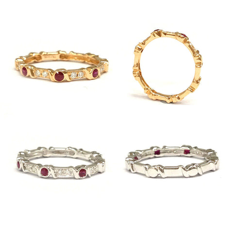 Ruby Full Cut Diamond Wedding Band Eternity Anniversary Ring 14K Rose/White Gold - Lord of Gem Rings - 1