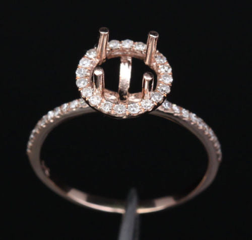 Diamond Engagement Semi Mount Ring 14k rose gold Setting Round 6.5mm - Lord of Gem Rings - 1