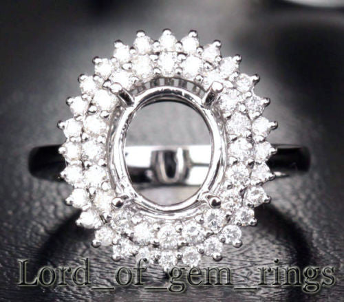 Flower 8x10mm Oval 14K White Gold .85CT Diamonds Halo Engagement Semi Mount Ring - Lord of Gem Rings - 1