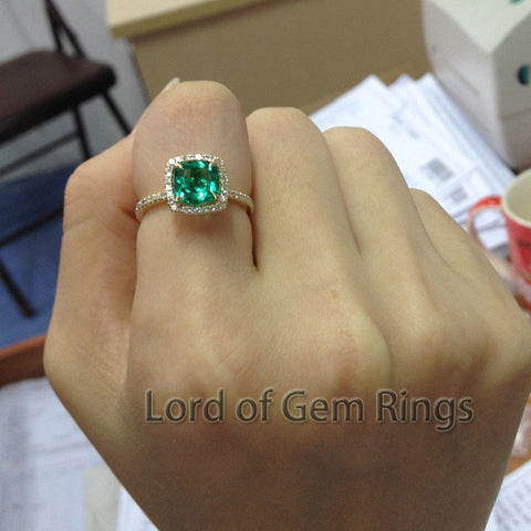 Cushion Emerald Engagement Ring Pave Diamond Wedding 14K Yellow Gold 7mm - Lord of Gem Rings - 1