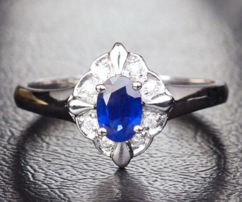 Oval Blue Sapphire Engagement ring Diamond Wedding 10K White gold Flower 0.6ct - Lord of Gem Rings - 1