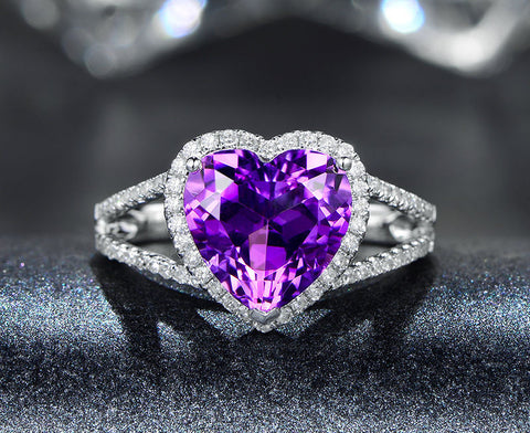 Heart Shape Amethyst Engagement Ring Pave Diamond Wedding 14K White Gold 10mm Split Shank - Lord of Gem Rings - 1
