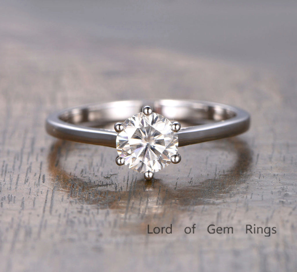 Round Moissanite Engagement Ring 14K White Gold 6.5mm Solitaire 6-Prongs - Lord of Gem Rings - 2