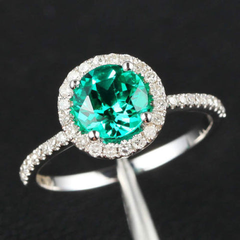 Round Emerald Engagement Ring Pave Diamond Wedding 14K White Gold 6.5mm - THIN DESIGN - Lord of Gem Rings - 1