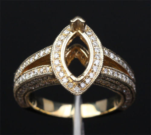 Diamond Engagement Semi Mount Ring 14K Yellow Gold Setting Marquise 5x10mm - Lord of Gem Rings - 1