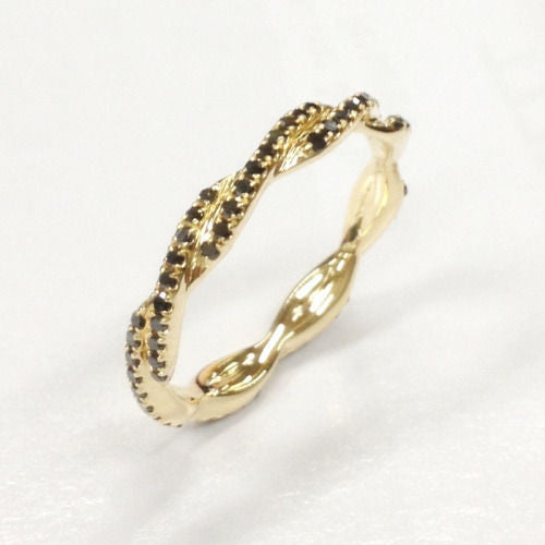 Black Diamond Wedding Band Eternity Anniversary Ring 14K Yellow Gold Unique Curved Double twist - Lord of Gem Rings - 1