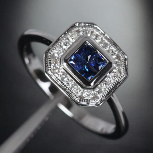 Princess Sapphire Engagement Ring Pave Diamond Wedding 14k White Gold 0.98ct Invisible Diamonds - Lord of Gem Rings - 1