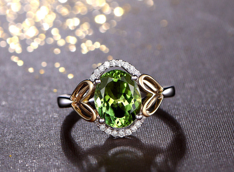 Oval Peridot Engagement Ring Pave Diamond  Wedding 14K White/Yellow Gold 8x10mm - Lord of Gem Rings - 1