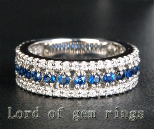 Round Blue Sapphire/Diamond Wedding Band Eternity Anniversary Ring 14k White Gold 1.10ctw - Lord of Gem Rings - 1