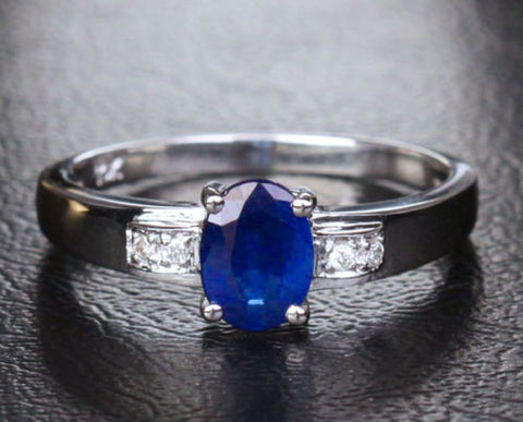 Oval Blue Sapphire Engagement ring Pave Diamond Wedding 10K White gold .82ct - Lord of Gem Rings - 1