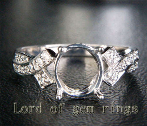 Diamond Engagement Semi Mount Ring 14K White Gold Oval 7x8mm - Lord of Gem Rings - 1
