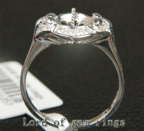 Diamond Engagement Semi Mount Pearl Ring 14K White Gold Setting Round 7.5-8.5mm - Lord of Gem Rings - 1
