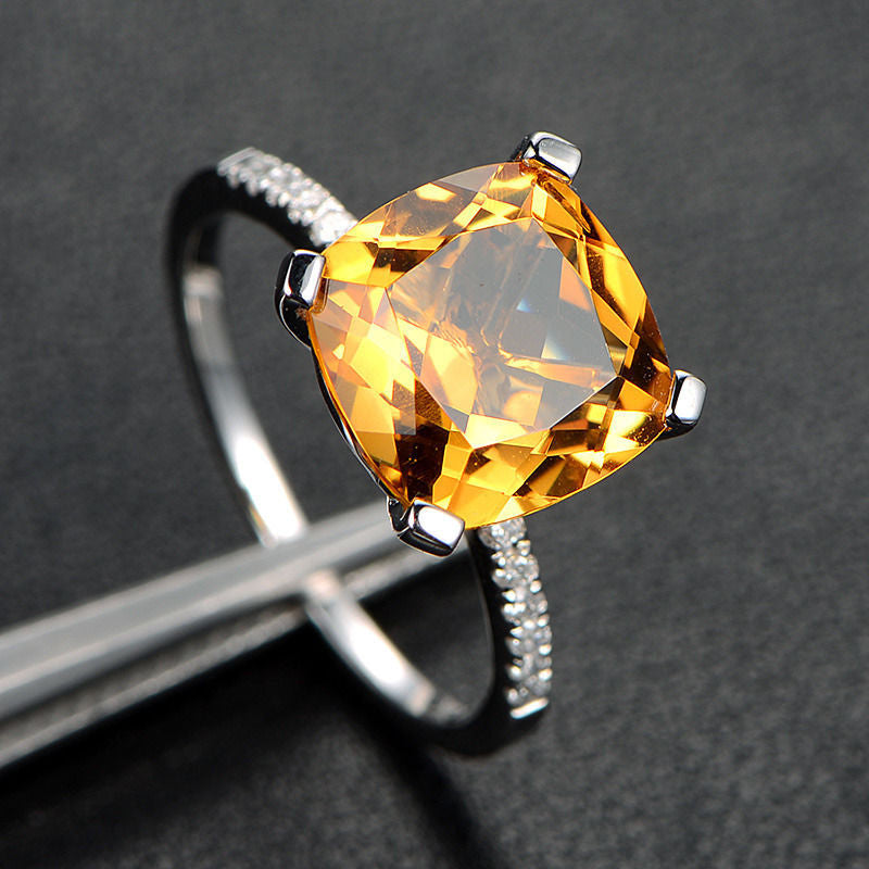 Cushion Citrine Engagement Ring Pave Diamond Wdedding 14K White Gold 9x9mm - Lord of Gem Rings - 1