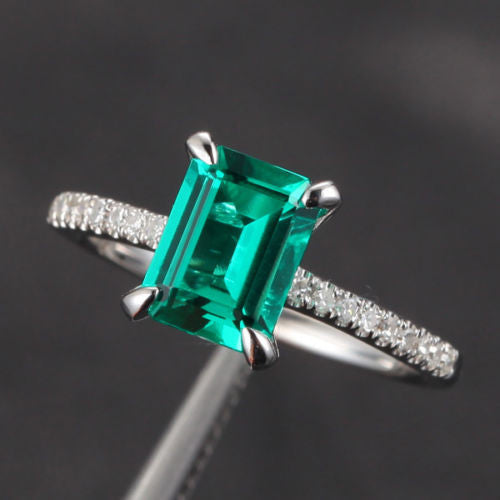 Emerald Shape Emerald Engagement Ring Pave Diamond Wedding 14K White Gold 6x8mm CLAW PRONGS - Lord of Gem Rings - 1