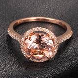 Ready to Ship - Round Morganite Engagement Ring Pave Diamond Wedding 14K Rose Gold 8mm - Lord of Gem Rings - 2