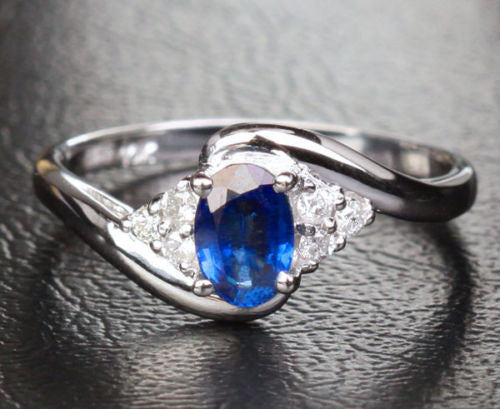 Oval Sapphire Engagement Ring Diamond Wedding 10k White Gold .68ct - Lord of Gem Rings - 1