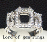 Diamond Engagement Semi Mount Ring 14K White Gold Setting Emerald Cut 6x8mm 3 stones - Lord of Gem Rings - 1