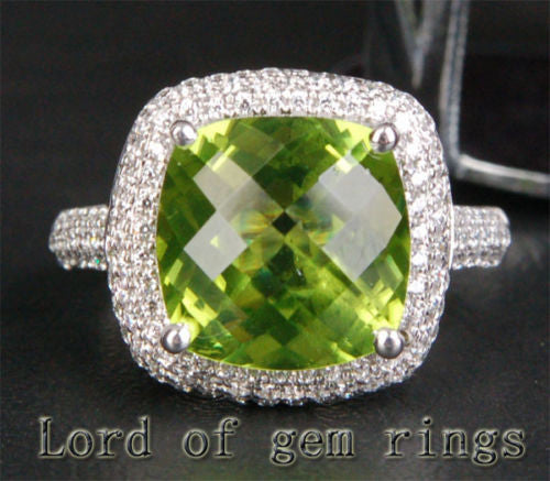 Cushion Peridot Engagement Ring Pave Diamond Wedding 14K White Gold 5.93ct - Lord of Gem Rings - 1