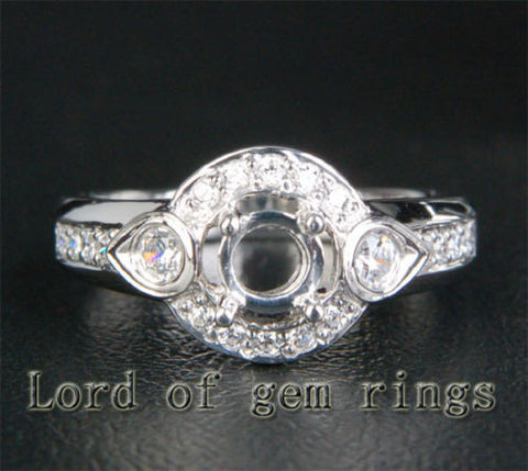 Unique 5mm Round Cut 14K White Gold .40ct SI Diamonds Semi Mount Engagement Ring - Lord of Gem Rings - 1