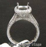Diamond Engagement Semi Mount Ring 14K White Gold Setting Cushion 7mm - Lord of Gem Rings - 1