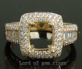 Diamond Engagement Semi Mount Ring 14K Yellow Gold Setting Cushion 9mm - Lord of Gem Rings - 1