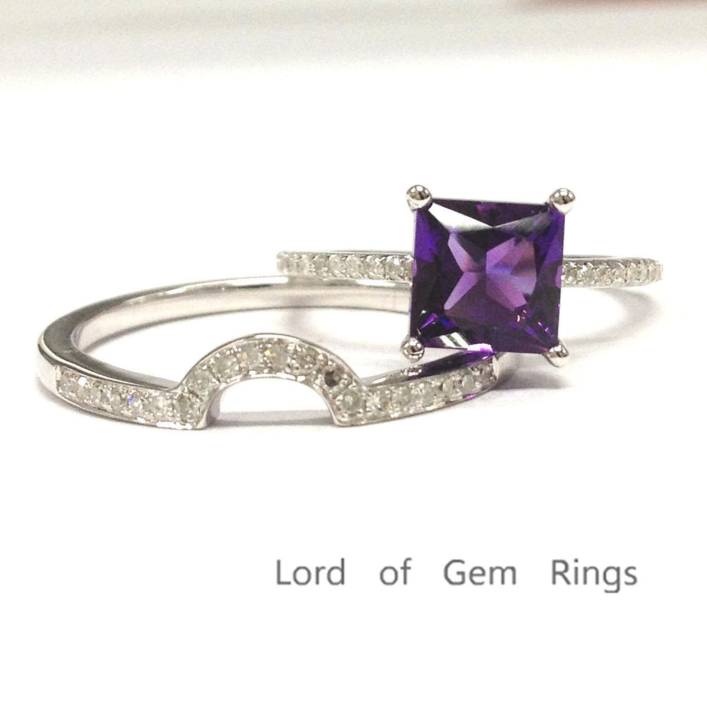 Princess Amethyst Engagement Ring Sets Pave Diamond  Wedding 14K White Gold 6mm ,Curved Band - Lord of Gem Rings - 1