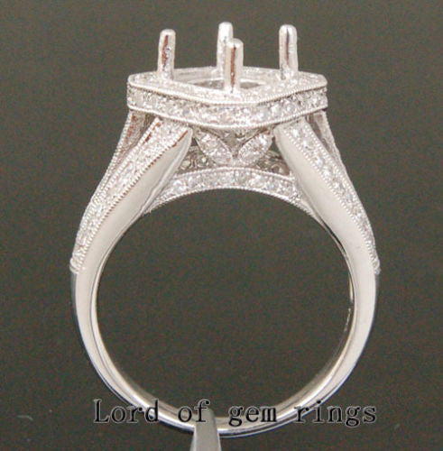 Diamond Engagement Semi Mount Ring 14K White Gold Setting Round 7-7.5mm, Heavy - Lord of Gem Rings - 1