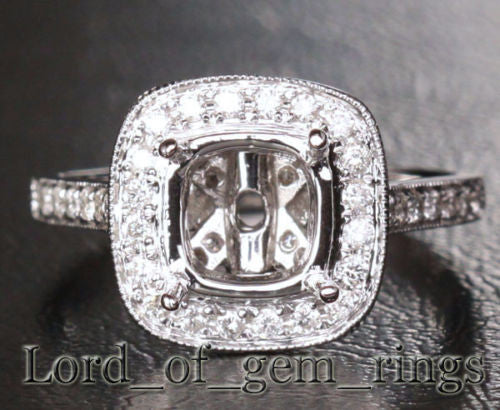 Diamond Engagement Semi Mount Ring 14K White Gold Cushion 7mm  Milgrain - Lord of Gem Rings - 1