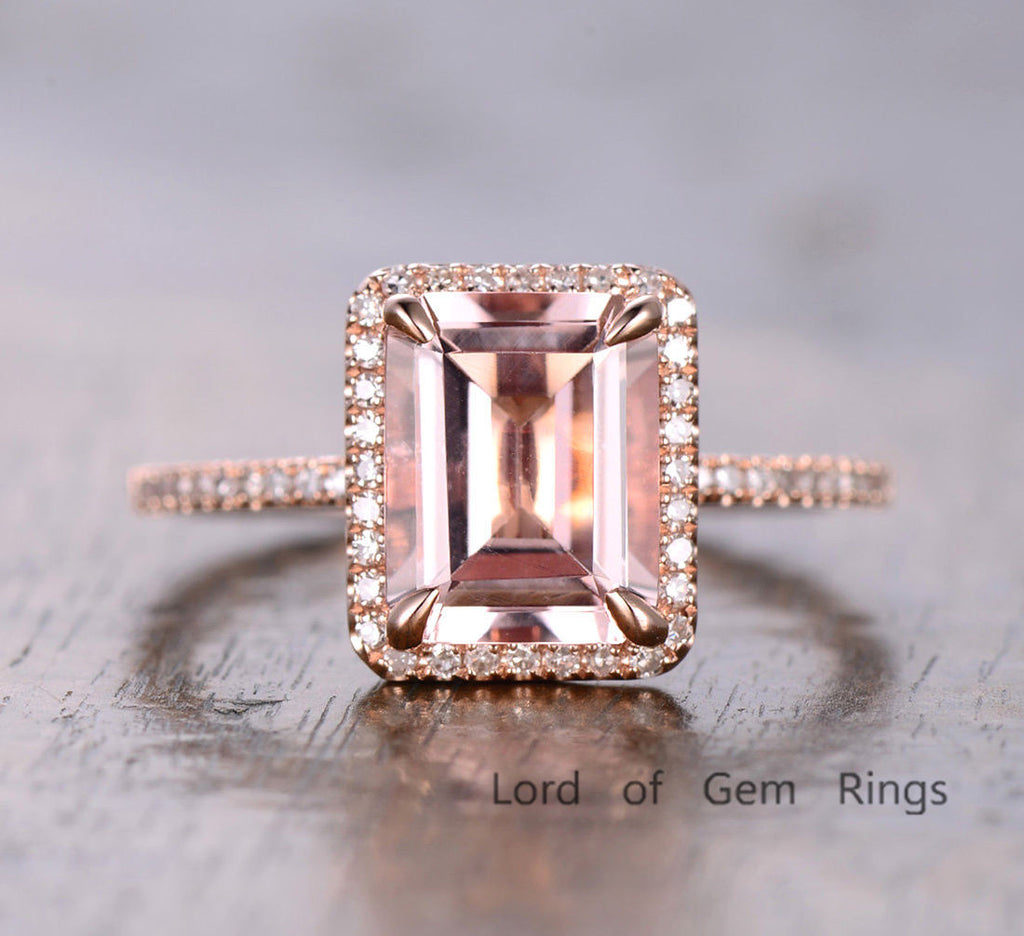 Emerald Cut Morganite Engagement Ring Pave Diamond Wedding 14K Rose Gold 8x10mm - Lord of Gem Rings - 2