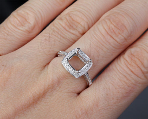 Diamond Engagement Semi Mount Ring 14K White Gold Setting Princess 6-6.5mm - Lord of Gem Rings - 1